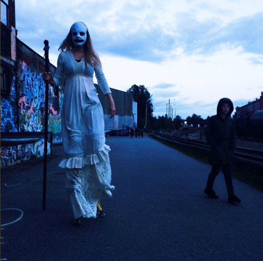This terrifying apparition is appearing in our Stupid Boy video. Shannon Saunders is the Stiltwalker.